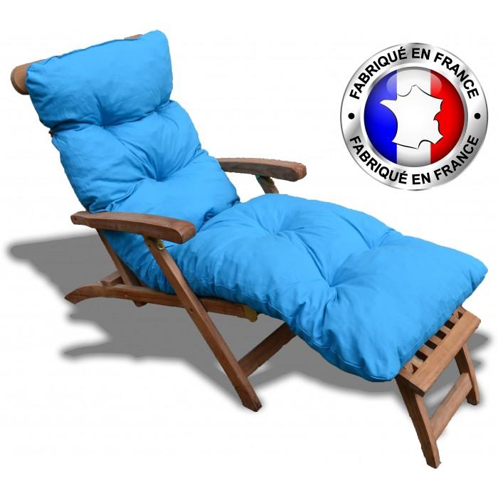 COUSSIN BAIN DE SOLEIL COTON Bleu 180*60*12 cm