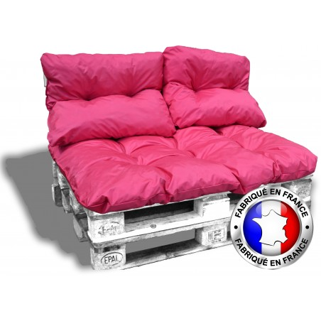 KIT COUSSINS PALETTE IMPERMEABLE rose 1 assise+2 dossiers 120*80 cm