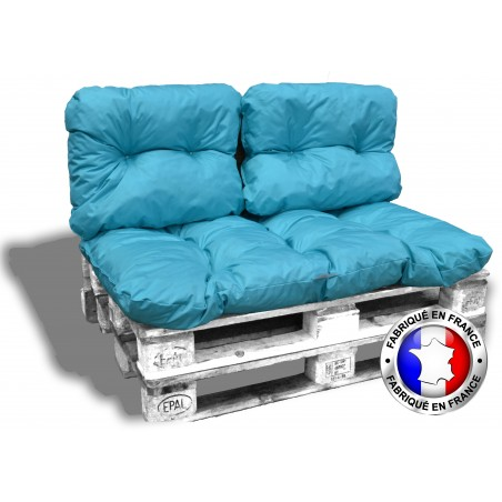 KIT COUSSINS PALETTE IMPERMEABLE tuquoise 1 assise+2 dossiers 120*80 cm