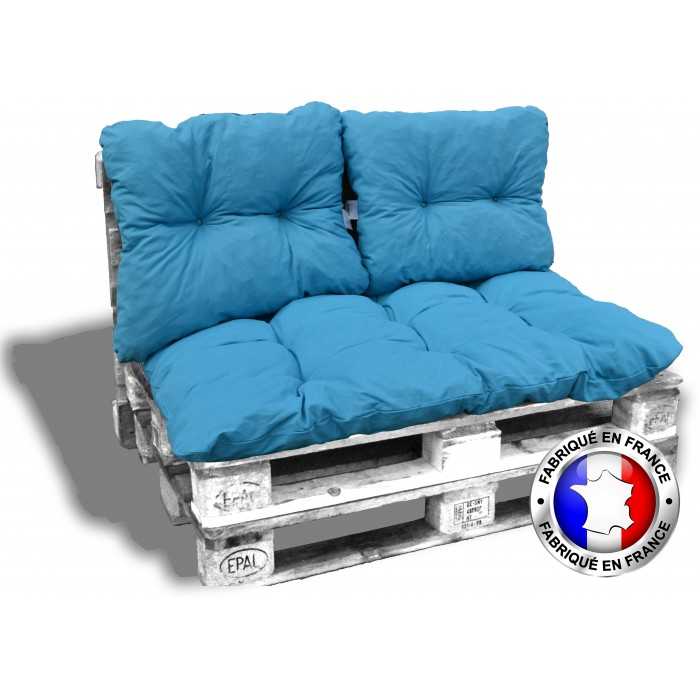KIT COUSSINS PALETTE OUTDOOR complet 1 assise+3 dossiers 120*80 cm