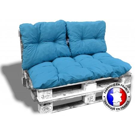 KIT COUSSINS PALETTE COTON bleu 1 assise+2 dossiers 120*80 cm
