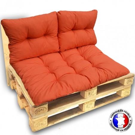 KIT COMPLET 3 COUSSINS 1 ASSISE + 2 DOSSIERS pour CANAPE euro palettes 120*80 cm orange épaisseur 17 cm ! Le moins cher du net!