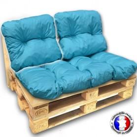 COUSSIN DOSSIER IMPERMEABLE pour SALON PALETTE OD 60*55 cm turquoise ép 17 cm !