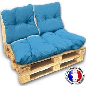 COUSSIN DOSSIER pour SALON PALETTE 60*55 cm turquoise ep 17 cm