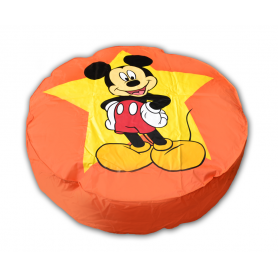 pouf disney  mickey geant 110 cm de diametre couleur orange