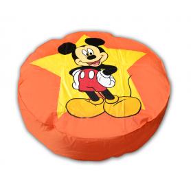 Pouf géant ORANGE Disney diamètre 110 cm motif Mickey pas cher FABRIQUE EN FRANCE