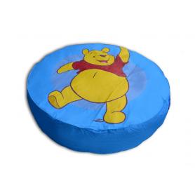 Pouf géant Bleu Disney diamètre 110 cm motif WINNIE pas cher FABRIQUE EN FRANCE