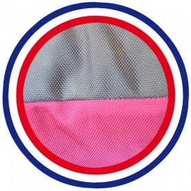 Coussin de chien reversible taupe rose fuchsia lavable fabrication française