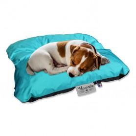 Coussin de chien reversible bleu turquoise noir lavable