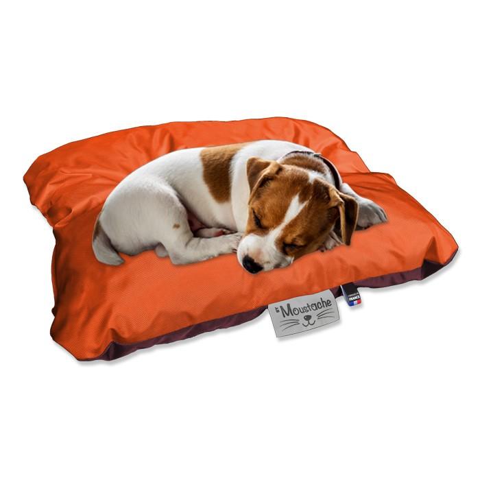 Coussin de chien reversible orange ambre lavable