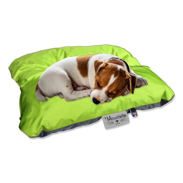 Coussin de chien reversible vert  gris lavable