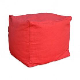 Pouf carré coton rouge framboise