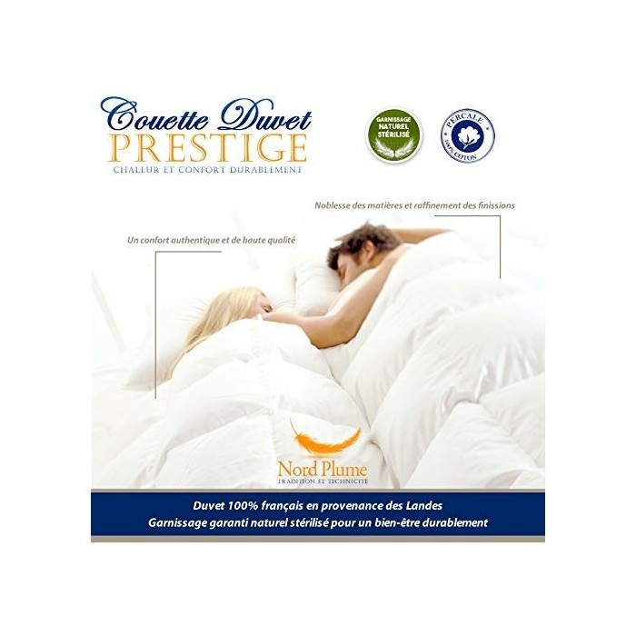 COUETTE DUVET luxe 220x240 ,80% Duvet Oie Blanc 20% Plumettes. Enveloppe 100% Coton percale 110 fils/cm², 400 g/m²